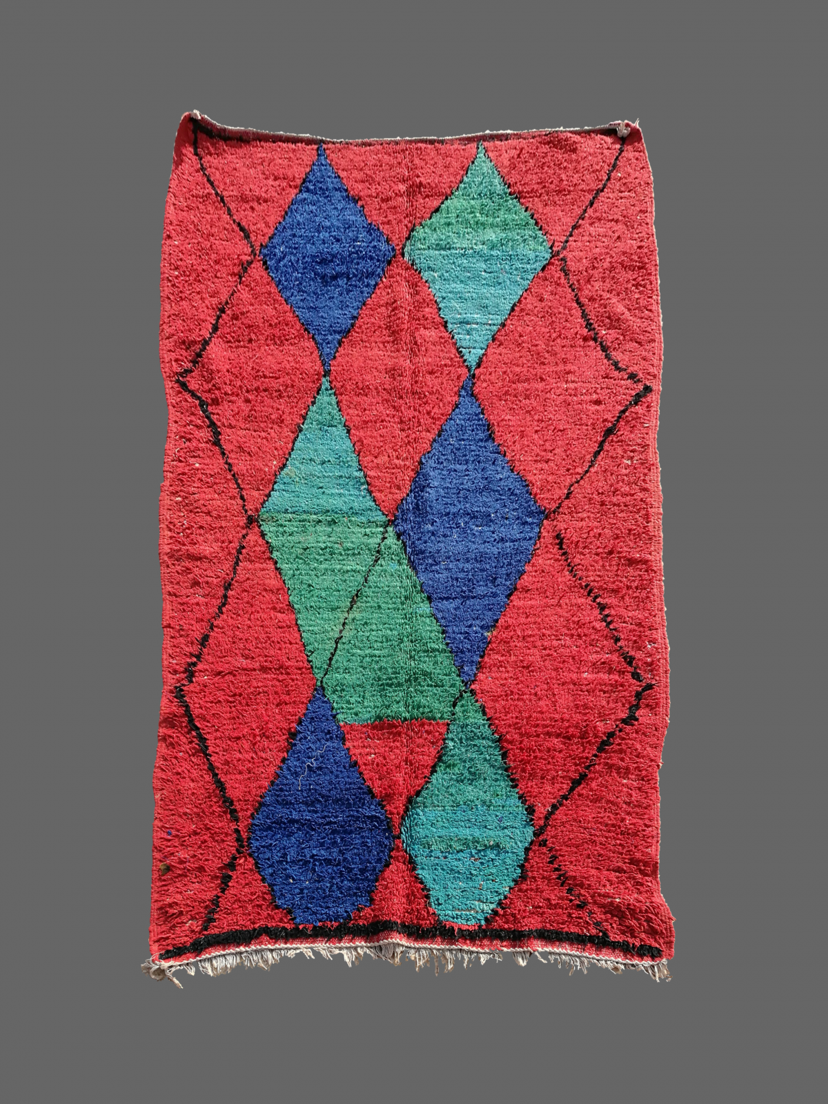 tapis azilal losange rouge