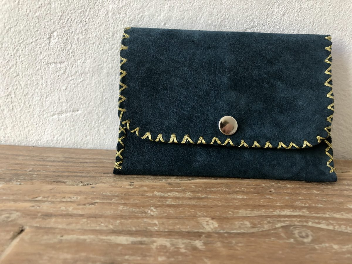 porte-monnaie bleu canard