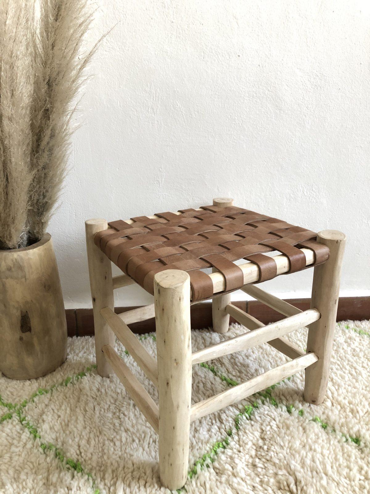 tabouret marocain cuir