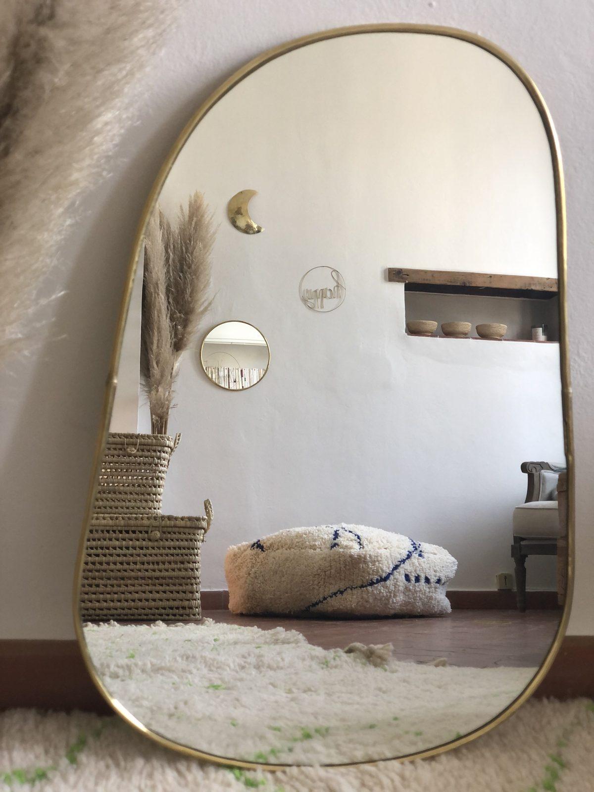 miroir trapeze laiton